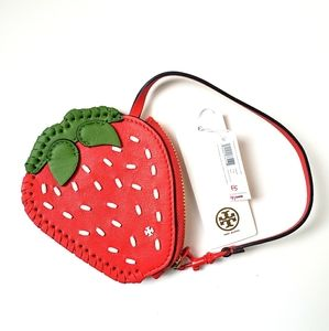 NWT Tory Burch Strawberry Coin Pouch Key Fob